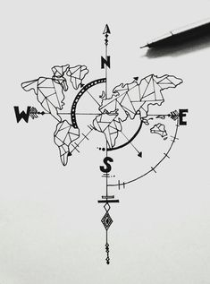 Tattoo compass drawing design ink ideas for 2019 - # for . - Tattoo compass drawing design ink ideas for 2019 – - Map Tattoos, Body Art Tattoos, Tatoos, Drawing Tattoos, Tattoo Sketches, Drawing Sketches, Drawing Ideas, Drawing Designs, Doodle Sketch