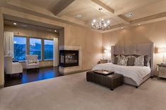 I would love a big bedroom with a fireplace and a little sitting area.