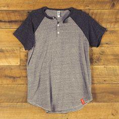Steam Horse Dry Goods Co. - Raglan Henley T-shirt peppercorn grey.