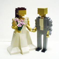 Custom LEGO Bride and Groom Wedding Cake Topper by FoldedFancy, $100.00 *Steve would love this!!