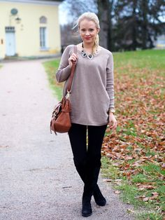 Warm sweater with a statement necklace