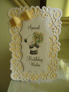 Card made with Spellbinders Heirloom Rectangle Die, Sue Wilson Bow Die and topper