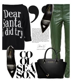 """Holiday Style: Leather Pants"" by danielle-broekhuizen ❤ liked on Polyvore featuring Gucci, Yves Saint Laurent and MICHAEL Michael Kors"