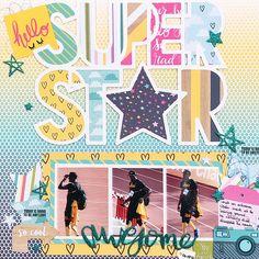 SUPER STAR by Jackie Ashton   Designer Spotlight with Paige Evans: Jackie Ashton - Stamp & Scrapbook EXPO #ssbe2017 #sportslayout #scrapbooking