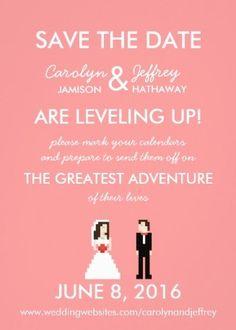 Geek Chic: 8-bit sweet pink #wedding invitation …