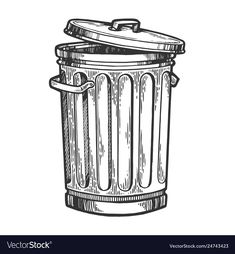 Buy Metal Trash Can Sketch Engraving Vector by AlexanderPokusay on GraphicRiver. Metal trash can sketch engraving vector illustration. Clean India Posters, Design Art, Graphic Design, Object Drawing, Dark Art Drawings, Stop Motion, How To Draw Hands, Illustration Art, Sketches