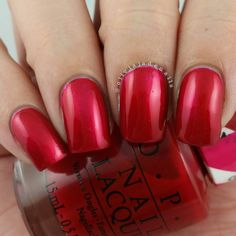OPI Magenta Muse (over OPI Silver Canvas) swatched by Olivia Jade Nails