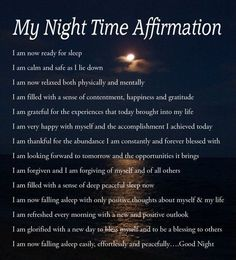 Going to bed affirmations