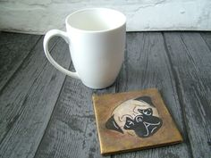Vintage Style Pug Coaster; Square Ceramic Tile Coaster, Hand Decorated, Distressed, Gift for Pug Owner; Table Coaster; Decorative Tile by KatPearsonDesignsUK on Etsy #giftsforpuglovers #pugdogs