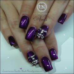 Blinged Out Acrylic Nail Designs   Rich Purple Nails with 3D Bows & Bling!..