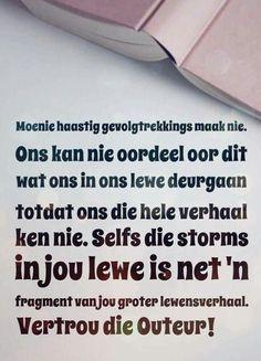 God is in beheer. Afrikaans, True Words, Prayers, Cards Against Humanity, God, Motivation, Tart, Instagram Posts, Scriptures