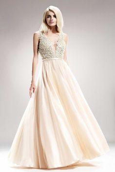 O&Ts #SP 7629 Выпускное Бежевое Платье Украшенное Жемчугом