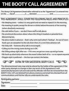 The Booty Call Agreement.......
