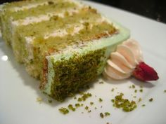 Goodnight Rose: Pistachio-Cardamom Cake with Rosewater Frosting Recipe on Yummly Frosting Recipes, Dessert Recipes, Icing Recipe, Cheesecake Recipes, Cardamom Cake, Pistachio Cake, Indian Sweets, Cake Flavors, Savoury Cake