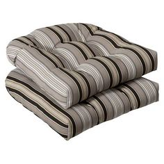 Shop for Set of 2 Outdoor Patio Wicker Chair Seat Cushions - Black & Tan Striped Voyage - Multi. Get free delivery On EVERYTHING* Overstock - Your Online Garden & Patio Shop! Patio Furniture Cushions, Outdoor Lounge Chair Cushions, Cushions On Sofa, Black Cushions, Deck Furniture, Outdoor Wicker Chairs, Patio Chairs, Rattan Chairs, Patio Seating