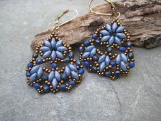 Woven Blue Super Duo  Blue Beads Czech Blue by SleepingCatDesigns