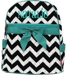 Children Personalized Backpack Chevron Teal Blue Bookbag Quilted Monogrammed on Etsy, $33.99
