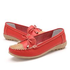 Hot-sale Soft Leather Butterfly Knot Metal Color Blocking Flat Loafers - NewChic Mobile.