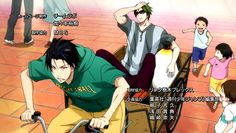 Ep 17: Midorima and Takao and the Rickshaw! Lol, and since it's summer, that penguin doll is so contrast with the surrounding. Love Midorima and his shade :3