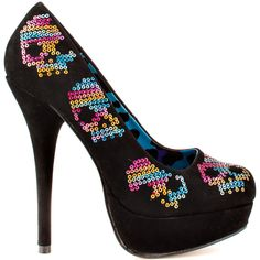 Rock out all night in these skull patterned Iron Fist pumps! Sugar Hiccup brings you a sleek black upper with sparkling multi color skulls. A rounded toe, 1 inch platform and 5 inch covered stiletto heel complete these sexy pumps.