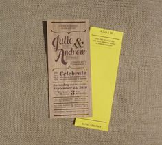 Great looking wood veneer cut out invitation w/ bright yellow rsvp card. Very bold yet rustic - awesome.