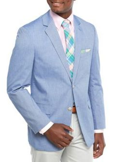 Saddlebred  Big  Tall Blue Chambray Sport Coat