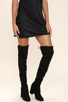 Steve Madden Norri Boots - Black Suede Boots - Over the Knee Boots - $129.00