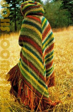 "Vintage 70s Knitted ""HOODED"" Cape PDF Pattern"