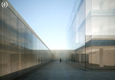 Glass Plaza is a visualization project that explores the use of glass, stone, and water arranged in a minimalist composition.