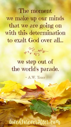 ♥ Exalt God over all and the world can't touch you!