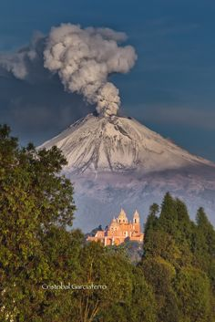 Dwelling at the base - defying mountain intimadation . Church at Cholula, and The Popocatepetl