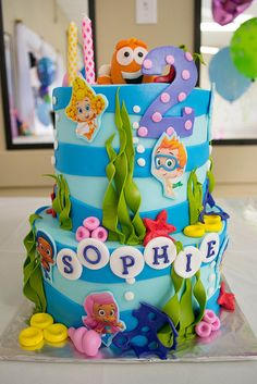 Bubble Guppies Birthday Cake Ideas and InspirationYou can find Bubble guppies birthday and more on our website.Bubble Guppies Birthday Cake Ideas and Inspiration Bubble Guppies Birthday Cake, Third Birthday, 3rd Birthday Parties, Birthday Ideas, Summer Birthday, Birthday Board, Mermaid Birthday, Frozen Birthday, Birthday Cakes