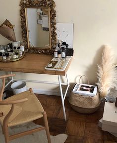 Ikea desk, wishbone chair, Syroco mirror and pampas grass - desk . - Ikea desk, wishbone chair, Syroco mirror and pampas grass - Ikea Desk, Aesthetic Room Decor, Home And Deco, Dream Rooms, My New Room, House Rooms, Bedroom Decor, Bedroom Ideas, Decoration