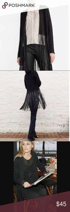 Zara Black Faux Leather Fringe Cardigan Sweater Woman's Zara black Cardigan sweater In excellent preowned condition  Size small Faux leather fringe Zara Sweaters Cardigans