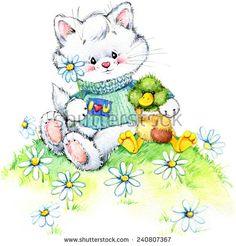 Imagens, fotos stock e vetores similares de Teddy bear. Kids background for congratulation. Funny Duck, Congratulations Card, Otter, Nye, Cat Love, Spring Flowers, Illustration, Teddy Bear, Watercolor