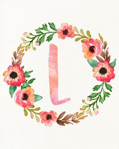 L Wallpaper, Monogram Wallpaper, Cute Wallpaper Backgrounds, Cute Wallpapers, Floral Letters, Monogram Letters, Watercolor Lettering, Floral Watercolor, Printable Letters
