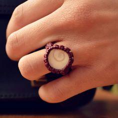 macrame ring • seashell • bordeaux • white • boho