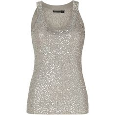 DONNA KARAN Oyster Sequined Cashmere-Silk Knit Tank Top ($1,260) ❤ liked on Polyvore