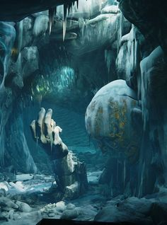"""""""Frozen Throne Room"""" by Ronan Mahon A very interesting environment, provokes a curiosity about the history of the statue/throne. Fantasy Concept Art, Fantasy Artwork, Environment Concept, Environment Design, Fantasy Places, Fantasy World, Fantasy Landscape, Landscape Art, Dungeons And Dragons"""