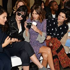 Alexa Chung, Daisy Lowe and Pixie Geldoff seen at Topshop Unique. Celebrity Frow: Fashion Week AW15