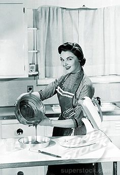 The way this lady is smiling I think represents how Tessie views her town. I say that because she doesn't look the happiest but she also doesn't look like she's enjoying anything. She actually looks like she has a forced smile. Aprons Vintage, Vintage Ads, Vintage Images, Vintage Wife, Vintage Woman, Vintage Cooking, Vintage Kitchen, The Good Wife's Guide, Vintage Housewife