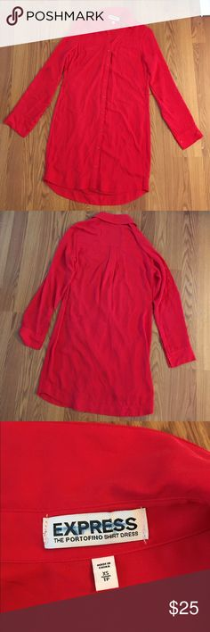 Portofino shirt dress NWOT. Buttons down the front. No imperfections noted. Has loops to put a belt through. Long sleeves roll up and button to hold in place. Express Dresses Long Sleeve
