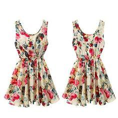 "MOKE Fashion Women Casual Summer Sleeveless Floral Print Orange Dress (Colors: Blue, Apricot) Material: Chiffon, 4 Sizes available:  Asian S(US XS(2) EU 32 UK 4 AU 6)----Bust----84cm/33.07"";Shoulder----33cm/12.99"";Length----82cm/32.28"";  Asian M(US S(4) EU 34 UK 6 AU 8)----Bust----88cm/34.65"";Shoulder----34cm/1... #bajukurung #bajukurungmoden"