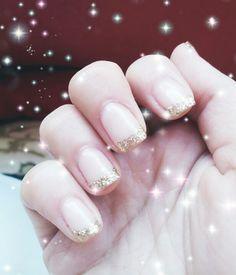 Sparkly french nails French Nails, Manicure, Nail Designs, Nail Polish, Makeup, Hair, Beautiful, Beauty, Nail Bar