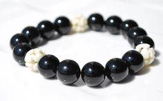 Black Agate and Carved Yak Bone Bracelet / by BohoBeachJewelry, $7.00