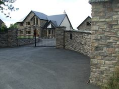 Stone facing and stone cladding Ireland, Century Stone Ireland - Stone Cladding (Exteriors) Stone Cladding Exterior, Stone Exterior Houses, House Paint Exterior, Dream House Exterior, Exterior House Colors, Wall Exterior, House Exteriors, Wrought Iron Driveway Gates, Driveway Entrance
