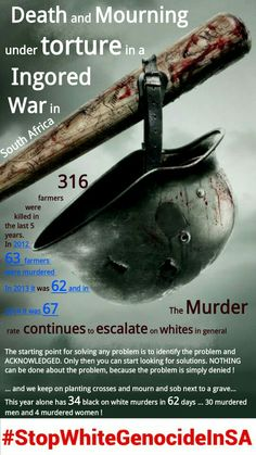 Death and Mourning under TORTURE in a Ingored WAR in South Africa http://wp.me/p56NdO-QA White Genocide in South Africa #StopWhiteGenocideInSA