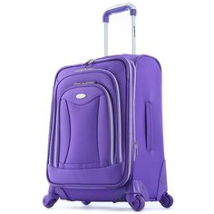 Olympia Luggage, Luxe 21-in. Expandable Spinner Carry-On (Purple) ($104) ❤ liked on Polyvore featuring bags, luggage and purple