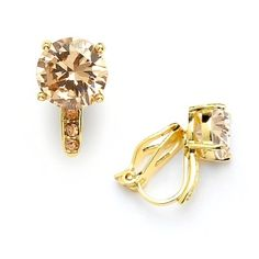 Whether you wear these gorgeous Champagne CZ clip on studs to a wedding…