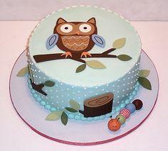 cute owl baby shower cake!